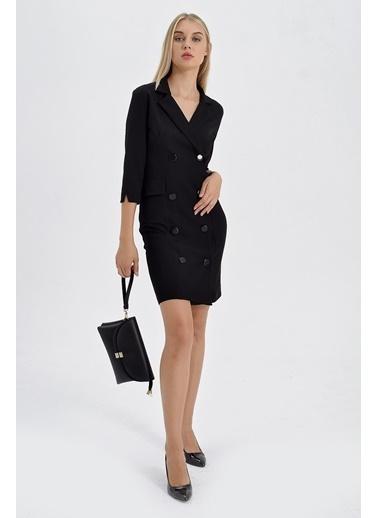 Jument Sırt Dekolteli Anvelop Ceket Elbise  Siyah